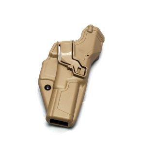 Radar Holster für Glock, Kunststoff, taktischer Einsatz-Holster, Index Finger/Daumen und Retention Sicherung coyote brown