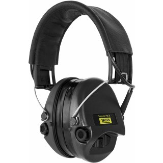 MSA Sordin Supreme Pro X Gehörschutz, Gelkissen AUX-Eingang, schwarzes Stoffkopfband, schwarze Cups