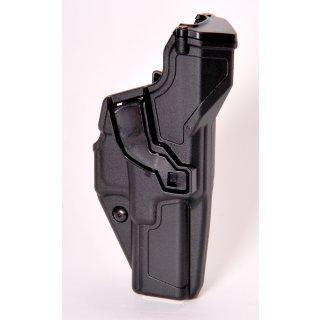 Radar Holster für Glock, Kunststoff, taktischer Einsatz-Holster, Index Finger/Daumen und Retention Sicherung black